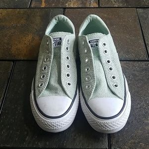 Converse All Star Mint or Seafoam Slip On Sneakers